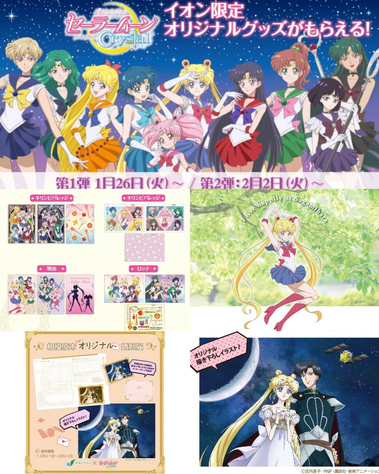 Sailor Moon Crystal Sagamihara City Stamp Magnet & Mini Clearfile Aeon Japan