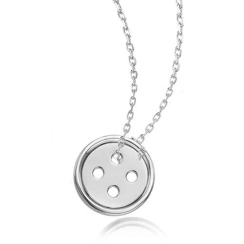 925 Sterling Silver Button Necklace Pendant 45cm Cute as a Button 18/'/'