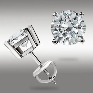 1-00-Ct-Round-14k-White-Gold-Stud-Earrings-w-Screw-back-Pierced-5mm-Great-Deal