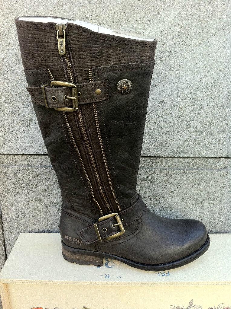 Grandes zapatos con descuento Replay Hellen Damenschuhe Schuhe Stiefel Boots Leder Hellen NEU