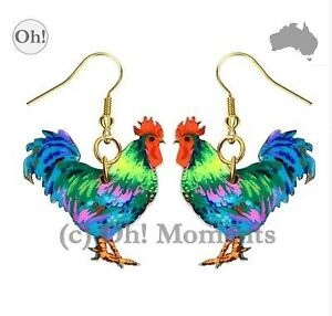 Melbourne-Seller-Boho-Fluro-Turquoise-Rooster-Earrings-FREE-POST