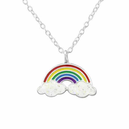 Nube de arco iris collar y pendiente conjunto de resina plata esterlina vibrante colorido