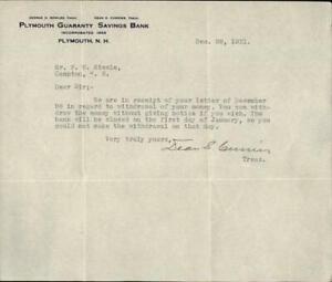 1931 Plymouth New Hampshire (NH) Letter Plymouth Guaranty Savings Bank