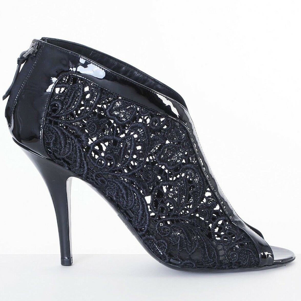 GIVENCHY black floral lace lace lace patent leather peep toe booties heels EU37.5 US7.5 fa8463