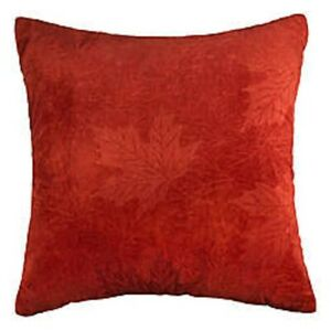 Maple Leaves Rust Decorative Throw Couch Pillow Rust Velvet Bed Bath