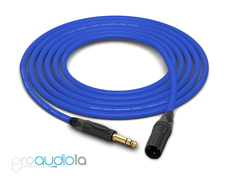 Mogami 2549 Cable   Neutrik Gold 1 4  TRS XLR-M   Blau 75 Feet   75 Ft.   75'