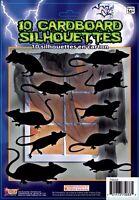 10 Piece Cardboard Rat Silhouette Wall Decoration Decals