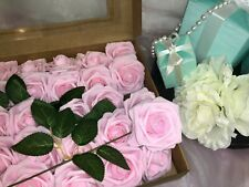 AmyHomie Artificial Flower Blush Pink Rose 25pcs Real Looking Fake Roses w//Stem for DIY Wedding Bouquets Centerpieces Arrangements Party Baby Shower Home Decorations