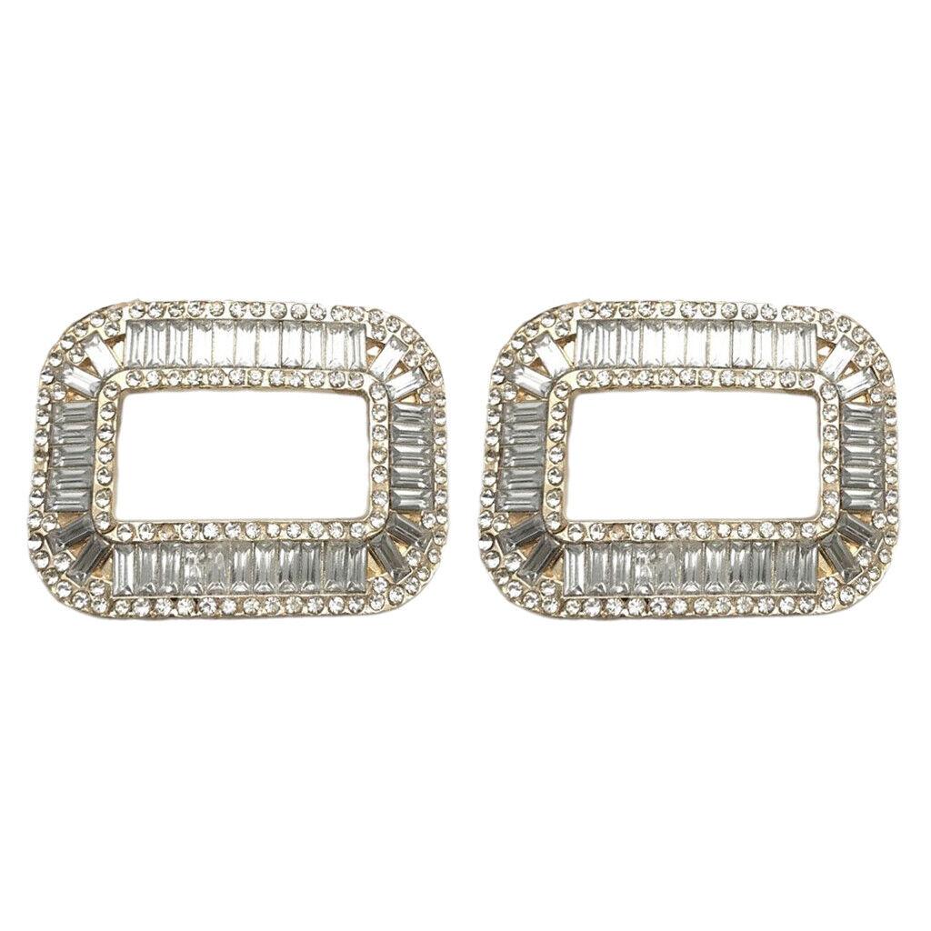 2-Pack Fashion Decorative Square Rhinestones Crystal Shoe Clips Charm Buckle
