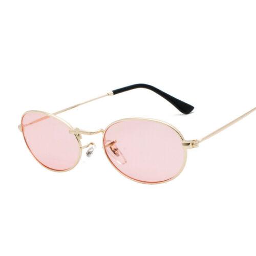 Fashion Retro Character Oval Small Sunglasses Metal Frame Womens Mens Eyewear