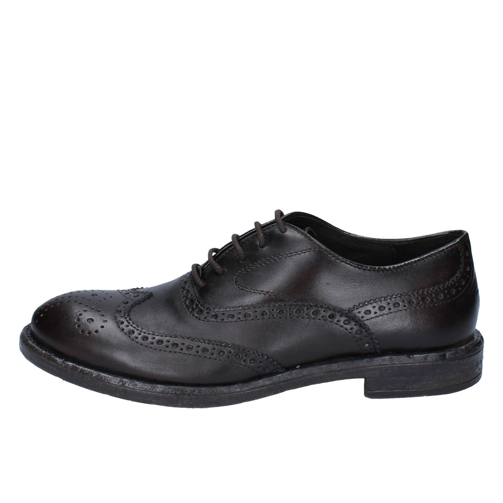 Men's shoes +2 MADE IN ITALY 7 () elegant dark brown leather BX422-40