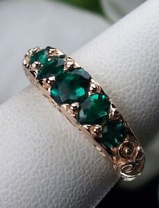 Green-Emerald-Sterling-Silver-amp-Rose-Gold-Georgian-Filigree-Ring-MTO-Size-Any