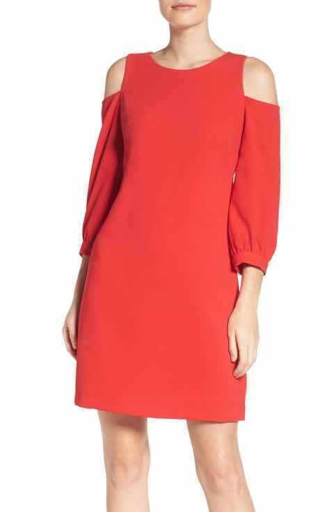 New Eliza J Red Cold-shoulder Shift Dress 6 bluesh Red