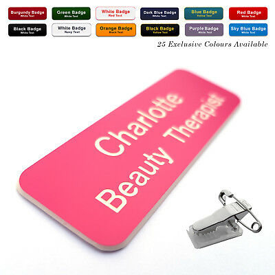 COMBI CLIP /& PIN Custom Engraved Name Badge Domestic Kitchen Assistant Fonts