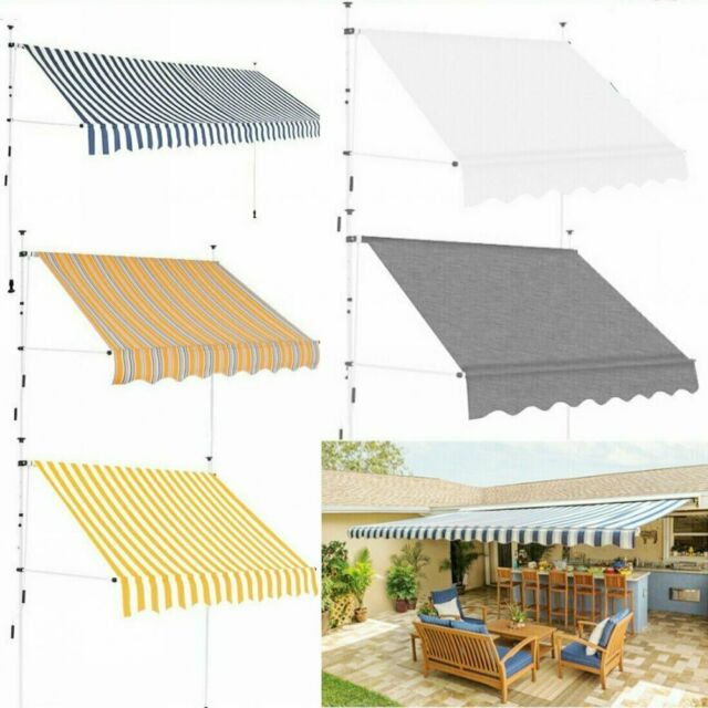 Manual Awning Canopy Retractable  Waterproof Sun Shade Shelter Garden Patio