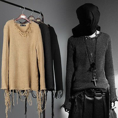 BytheR Men's Vintage Damage Fringe Knit Sweater Rock Chic Emo P0000RHG CA