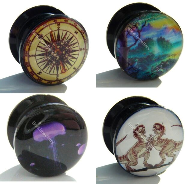 Acrylic Screw Compass, Paradise, Jellyfish, T Rex Ear Tunnel Plug 6mm to 25mm
