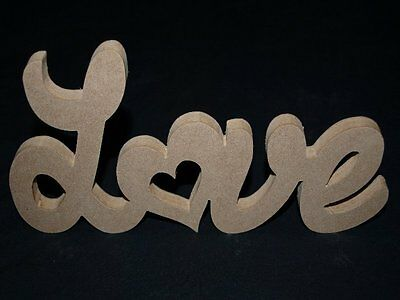 MDF Freestanding Love Wooden Words Decorative Letters Plaque Sign Unpainted