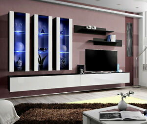 Idea E4 Modern Tv Wall Unit Entertainment Center Cabinet Media
