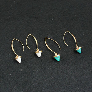 Fashion-Women-Inlay-Gold-Plated-Turquoise-Natural-Stone-Earrings-Hoop-Dangle-AU