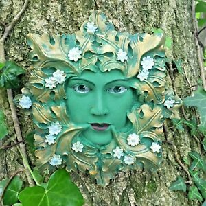 Image Is Loading Queen Floral Green Man Garden Ornament Wall Plaque