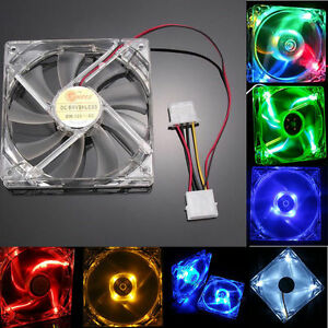 4-Pin-120mm-PC-Computer-Clear-Case-Quad-4-LED-Light-9-Blade-CPU-Cooling-Fan-12cm