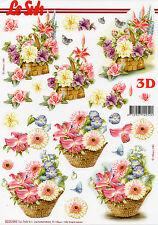 3D Bogen Motivbogen Etappenbogen Grußkarte Blüten Blumen im Korb (306)