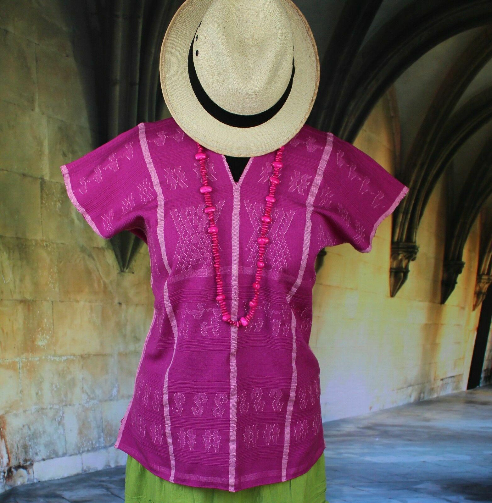 Huave Huipil Tunic Hand woven Back Strap Loom Oaxaca Mexican Hippie Boho Peasant