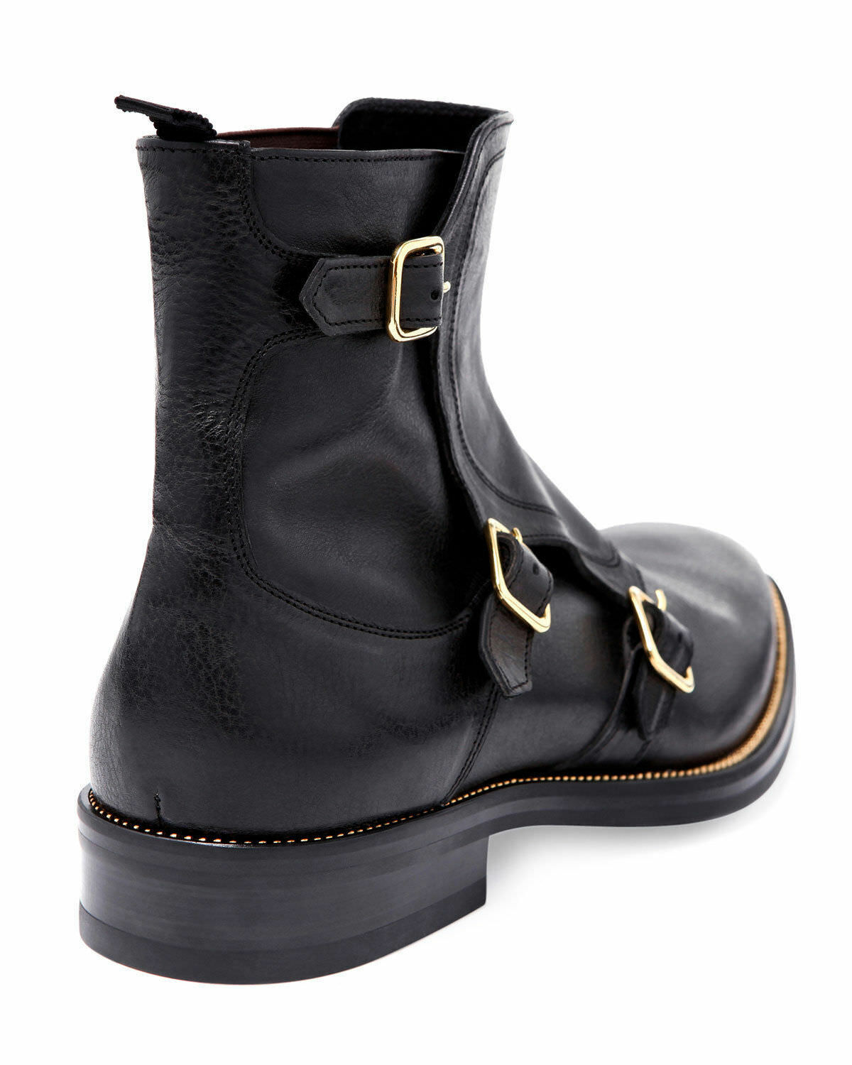 MEN HANDMADE BLACK TRIPLE MONK LEATHER BOOTS HIGH QUALITY PURE LEATHER MONK SHOES FOR MEN 10c981