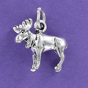 Image Is Loading Moose Charm Sterling Silver 925 For Bracelet Antlers