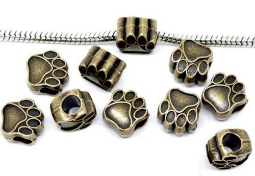 10 Perlen Pfote Tatze 10x10mm Loch 4 mm gold silber