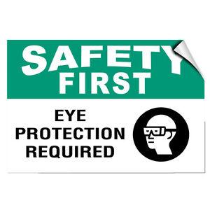 Safety First Eye Protection Required Hazard LABEL DECAL STICKER
