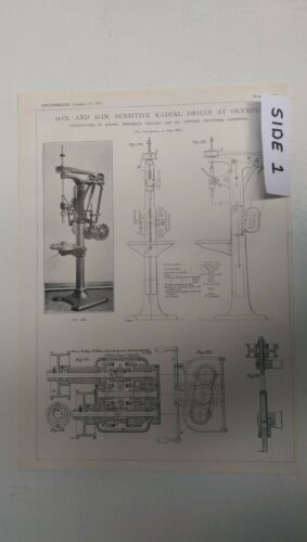 Sensitive Radial Drills At Olympia: Leicester: 1912 Engineering Magazine Print