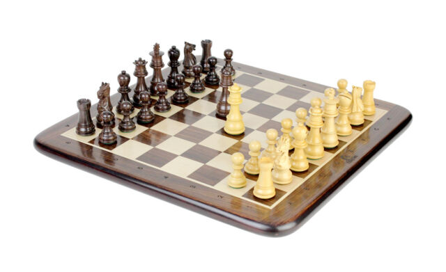 """Wooden Chess Set Pieces Rosewood Galaxy Staunton King Size 3""""+ Flat Chess Board"""