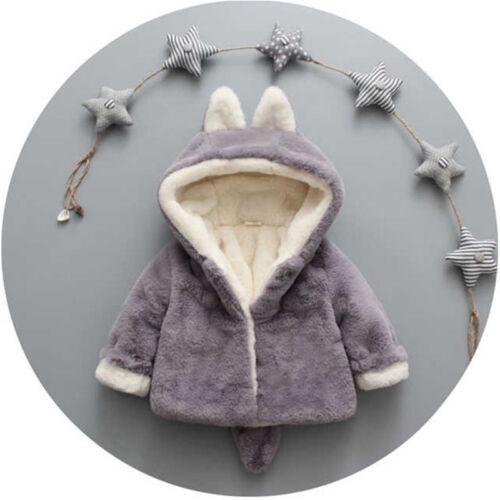 Toddler Boys Girl Kid Cute Ear Hooded Jacket Hoodie Faux Fur Winter Coat Outwear