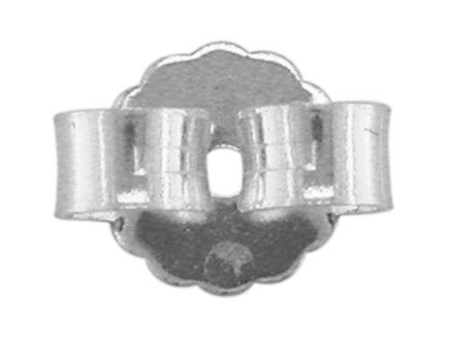 18ct pendiente oro blanco espaldas pergaminos//Mariposa puestos de gran 1mm