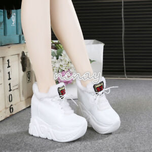 Winter-Womens-Platform-Wedge-High-Heel-Sneakers-Sport-Ankle-Boots-Shoes-Creepers