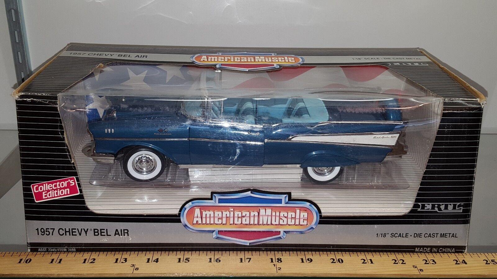 1 18 ERTL AMERICAN MUSCLE 1957 CHEVROLET BEL AIR CONgreenIBLE HARBOUR blueE yd