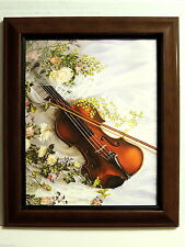 VIOLIN PICTURE INSTRUMENT MUSIC ROSES  FRAMED 8X10
