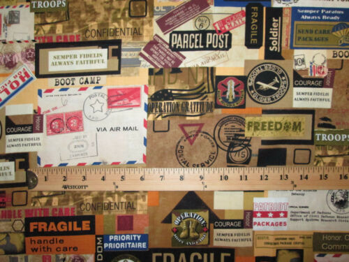 MILITARY MAIL USA LETTERS POSTAGE STAMPS MARKS BROWN COTTON FABRIC BTHY
