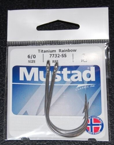 Size 6//0 2 Pack Mustad 7732-SS Big Game Stainless Steel Sea Demon Tuna Hooks