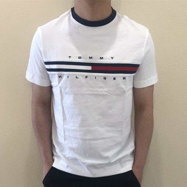 Tommy Hilfiger Denim T-Shirts Men Medium Large Tee Short Sleeve NEW Cotton Black