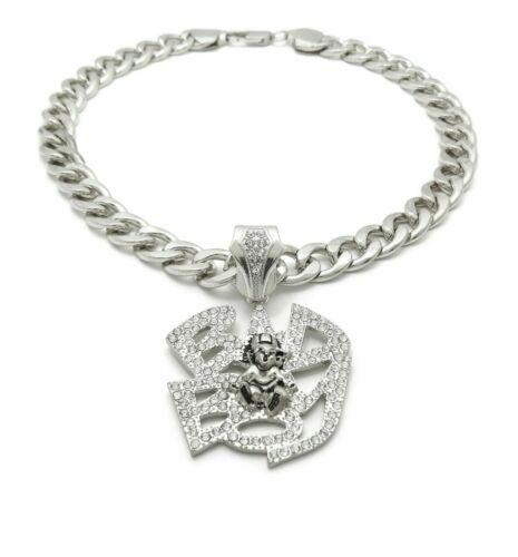 "Iced Hip Hop Silver PT BADBOY Pendant /& 11mm 20/"" Cuban Choker Chain Necklace"