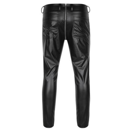 Men/'s Faux Leather WETLOOK Tight Pants Man Leggings PVC Long Trousers Black M-XL