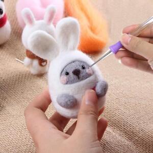 Needle-Felting-Handle-Holder-Wool-Embroidery-Craft-Kit-DIY-Felt-Tool-w-2-Needles
