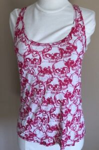 Wet-Seal-White-Halter-Tank-Top-With-Pink-Skulls-Women-s-Juniors-Size-Small