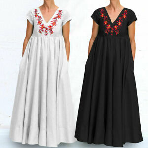 UK-Women-Flare-Swing-Maxi-Summer-Long-Skirt-Evening-Party-Floral-Dress-plus-size