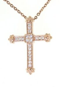 Solid-14K-Rose-Gold-0-11CT-Real-Natural-Diamond-Charm-Cross-Religious-Pendant