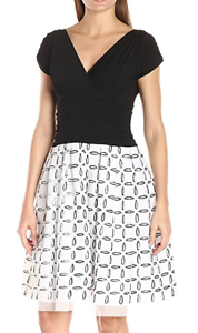 S.L. Fashions schwarz Stretch Knit Top w Weiß Print Cut Out Organza Skirt Dress