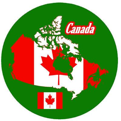 Canada Map Flag.Canada Map Flag Round Souvenir Novelty Fridge Magnet Sights